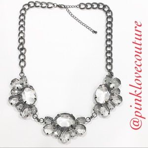 Black & Clear stones Statement Accent necklace